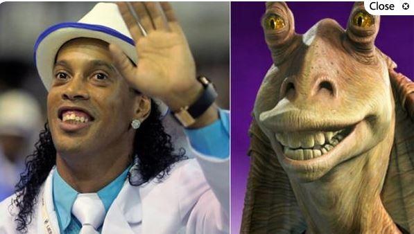 Ronaldinho Gaucho y Jar Jar Binks