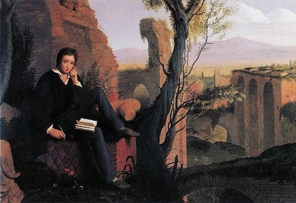 Joseph Severn - Posthumous Portrait of Shelley Writing Prometheus Unbound 1845