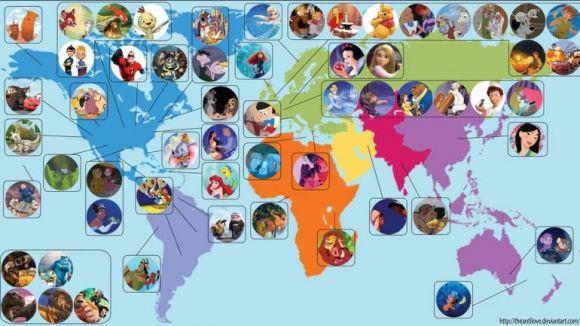 Películas de Disney en un mapamundi