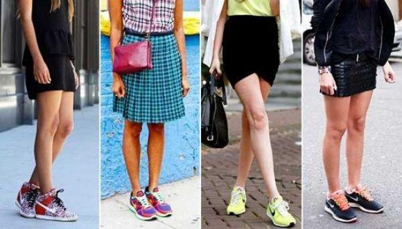 Combina tus tennis con falda