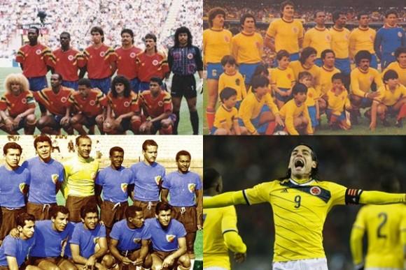 Camisetas de Colombia en los mundiales pasados