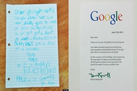 Escribió una carta a google para que le dieran día libre a su papá