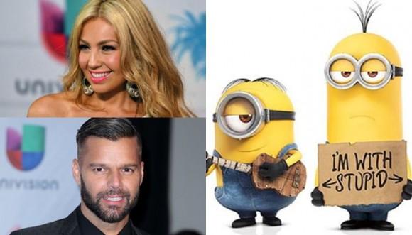 Thalia y Ricky Martin en Los Minions