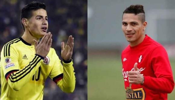 Los galanes del partido Colombia contra Perú