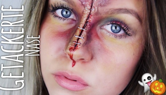 Nariz engrapada: impresionante maquillaje de Halloween (video)