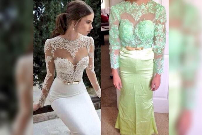 Expectativa y realidad de un vestido con transparencias de color blanco