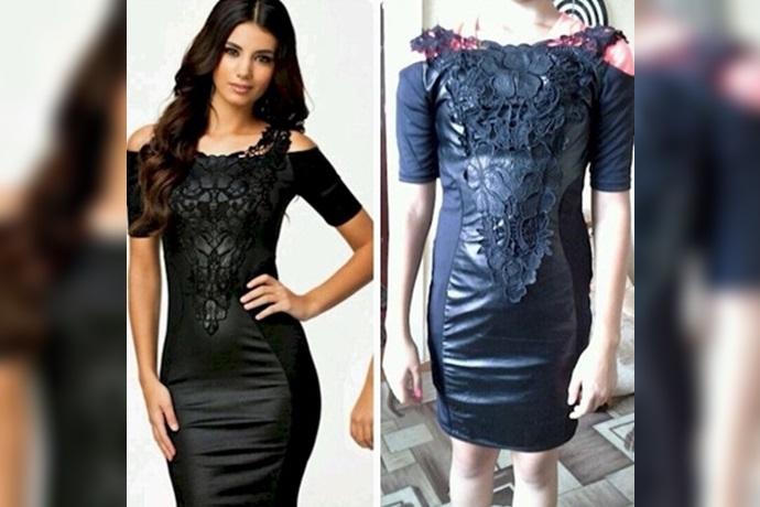 Expectativa y realidad de un vestido sintético negro