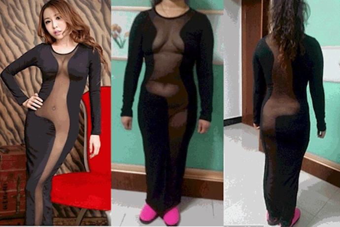Expectativa y realidad de un vestido negro con transparencias