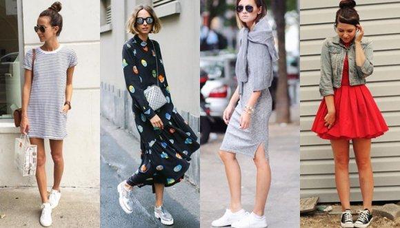 ¿Cómo combinar vestido con tenis? ¡Sí, tenis!
