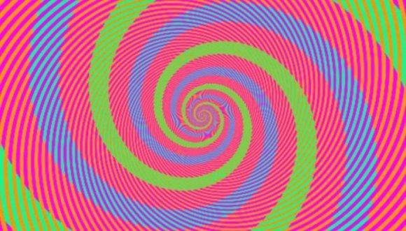 Ilusión óptica: Las espirales son verdes o azules