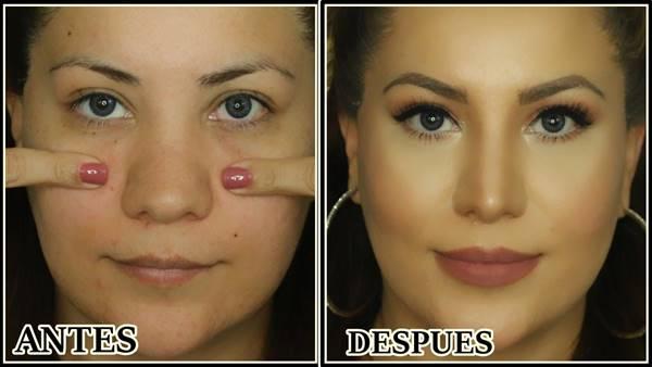 Foto antes y después de este maquillaje