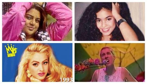 Looks de Shakira, Marbelle y más cantantes en los 90