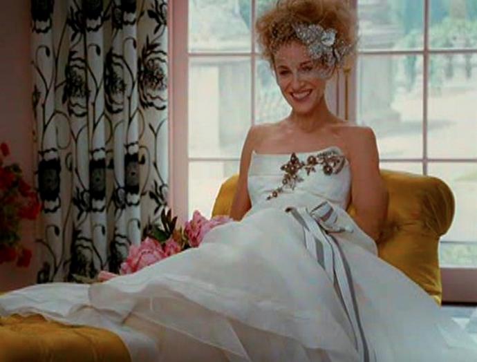 Carrie Bradshaws vogue Wedding Dress by Caroline Herrera