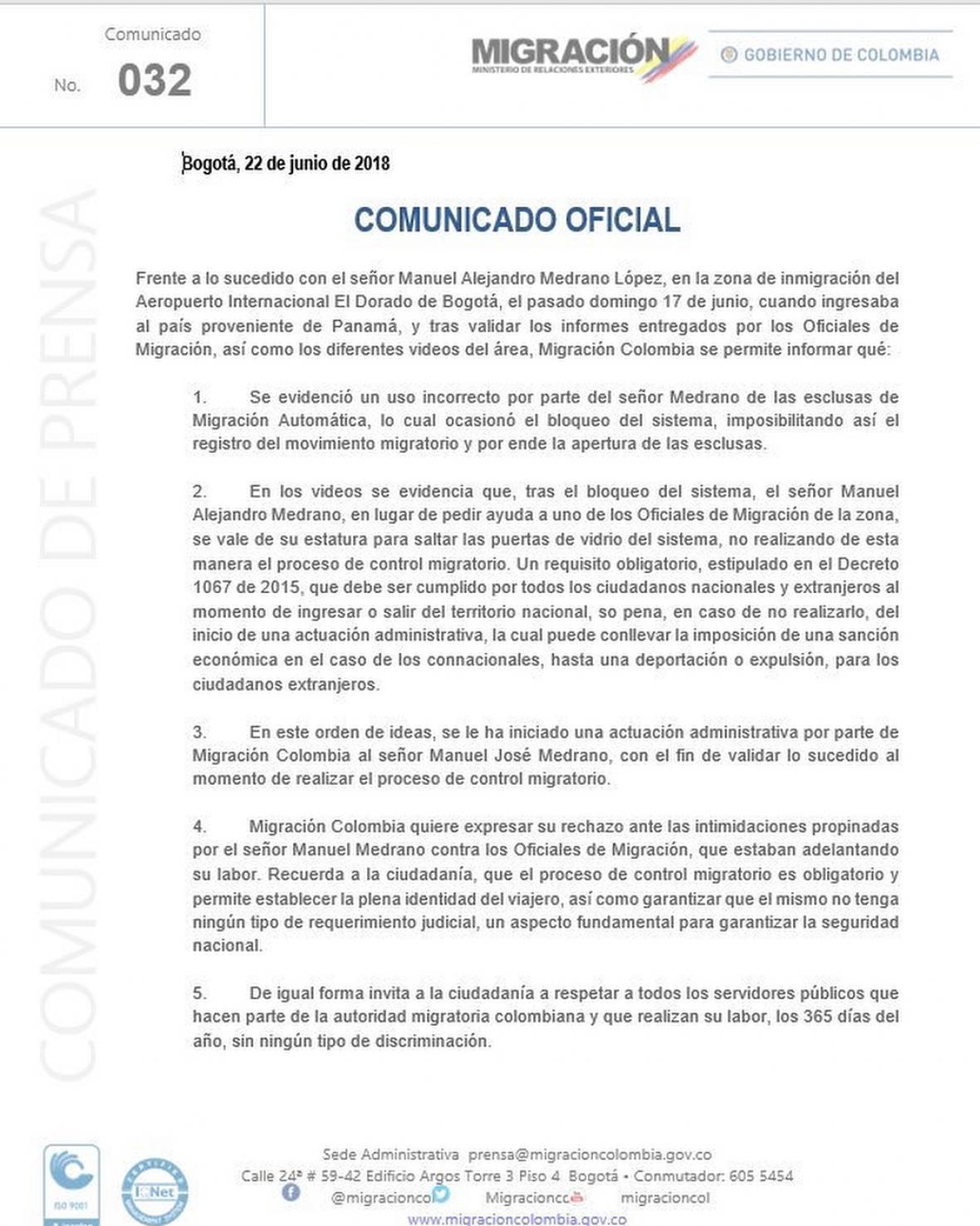 manuel medrano en problemas con migracion colombia