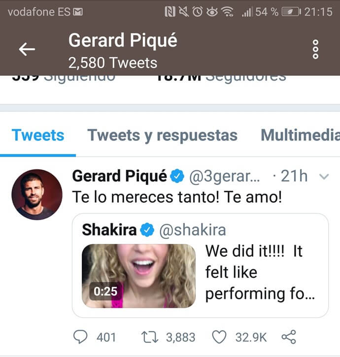 Mensaje en redes de Piqué a Shakira