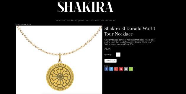 Collar de Shakira en su tienda en línea