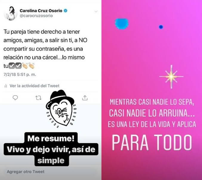 Historia de Instagram de Carolina Cruz