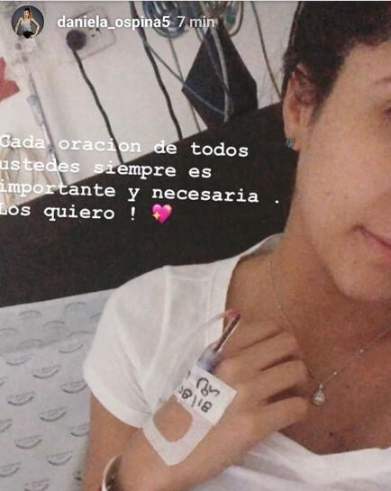 Foto de Daniela Ospina hospitalizada