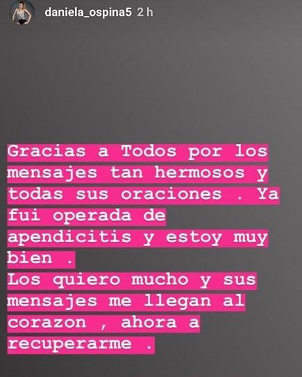 Mensaje de Daniela Ospina contando que fue operada de apendicitis