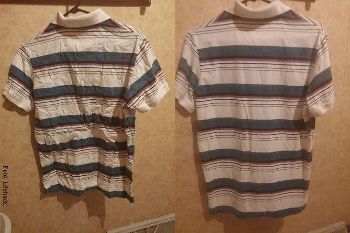 Foto de antes y después de una camisa colgada en la ducha y planchada con vapor de agua caliente