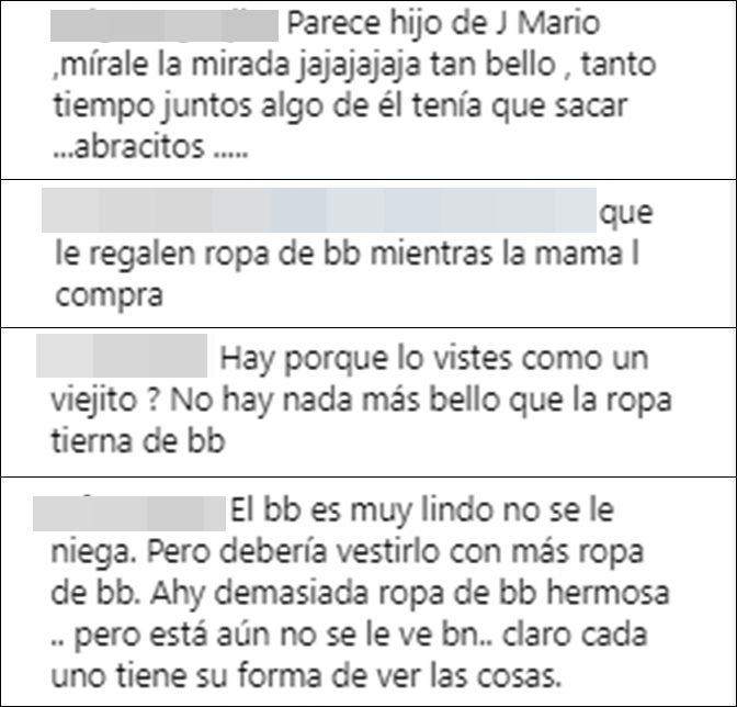 Print de pantalla de críticas a Laura Acuña por vestir a su hijo como adulto