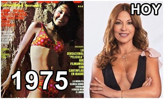 Foto de Amparo Grisales en 1975 versus actualidad