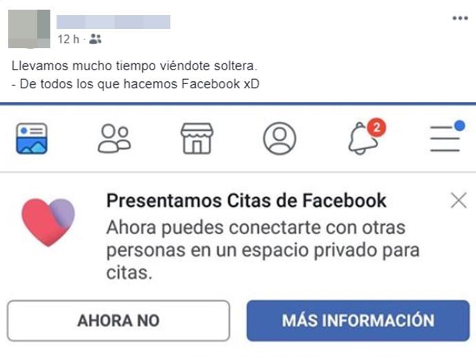 Print te pantalla invitando a usar Facebook  Dating