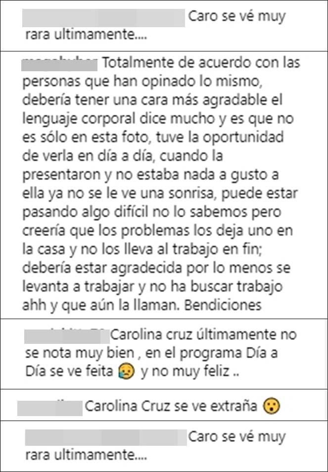 Print de pantalla de críticas a Carolina Cruz por su aspecto cansado