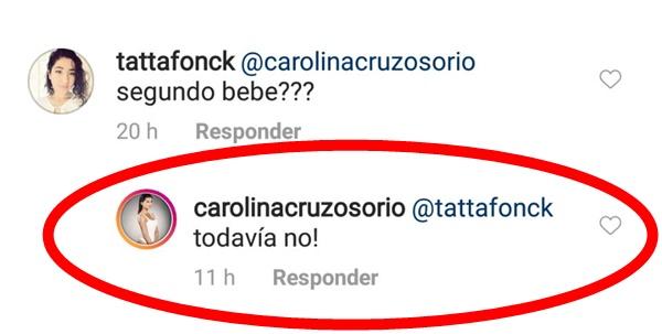 Print de pantalla de comentarios en el Instagram de Carolina Cruz