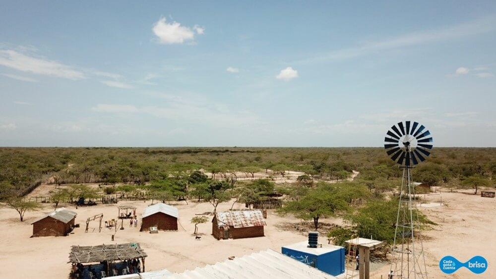 Vista aérea de la Comunidad de Cardonales en la Guajira