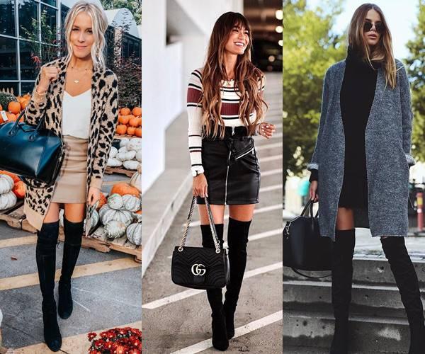 Fotos de mujeres con botas altas negras combinadas con minifalda