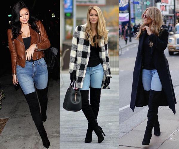 Fotos de mujeres usando botas altas negras con jeans