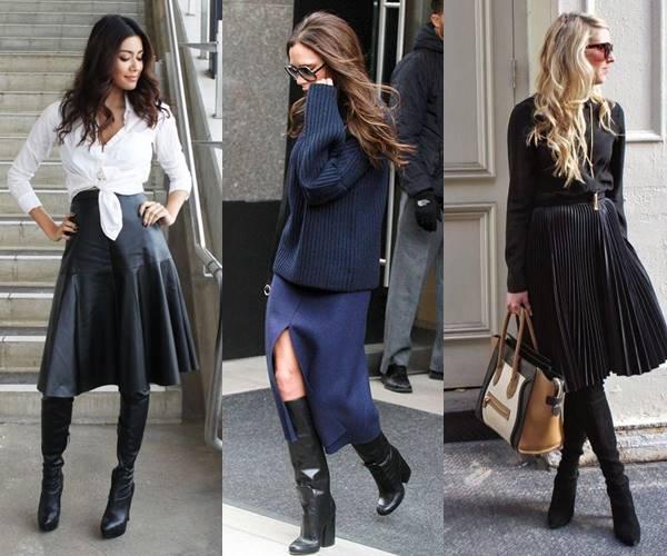 Mujeres con botas altas negras combinadas con falda