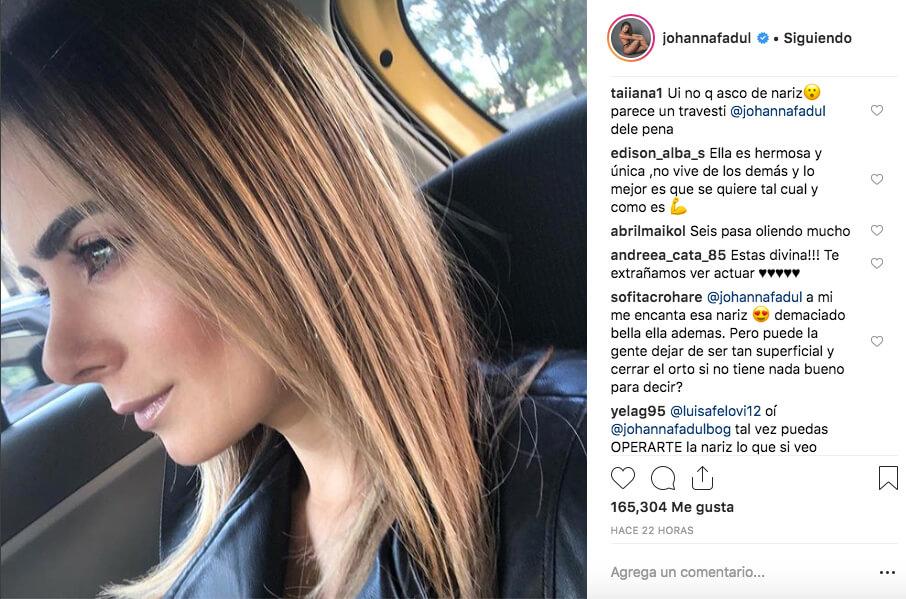 Johana Fadul recibe críticas por parte de sus seguidores