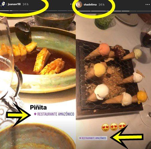 Print de pantalla de la hermana de James Rodríguez y Shannon de Lima en el mismo restaurante