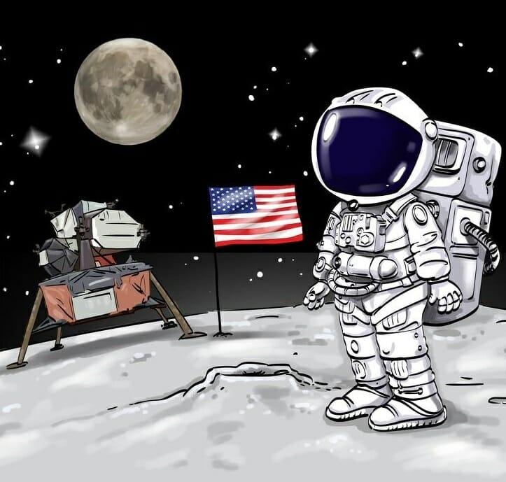 Imagen de un astronauta en la luna con un detalle oculto