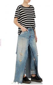 Faldón largo de jean sobre pantalón de jean