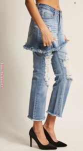 Falda de jean sobre pantalón de jean