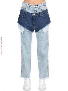 Short de jean corto sobre pantalón largo de jean