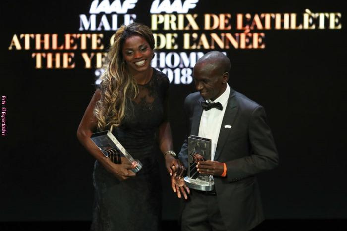 Caterine Ibargüen y Eliud Kipchoge galardonados como atletas del año