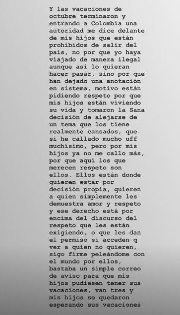 Mensaje de Andreina para Fredy Guarín y Sara Uribe