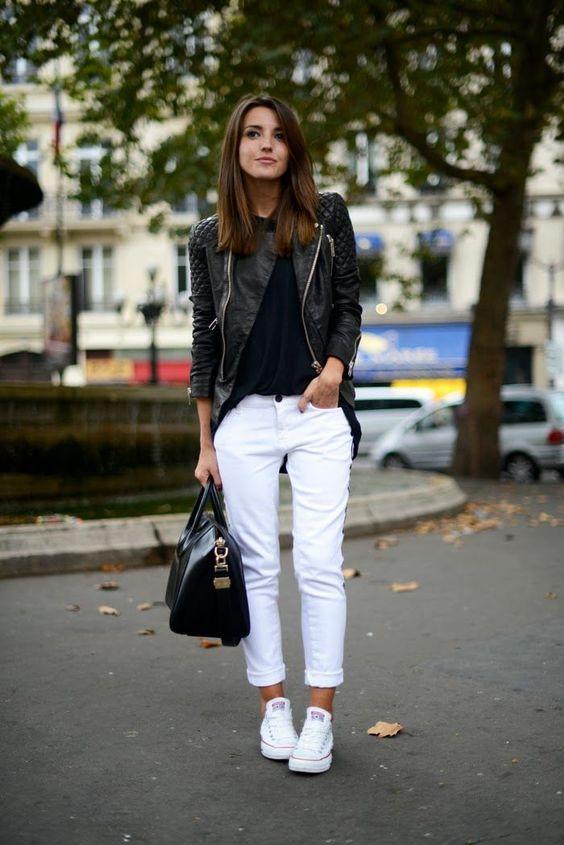 Outfits con tenis - pantalón blanco