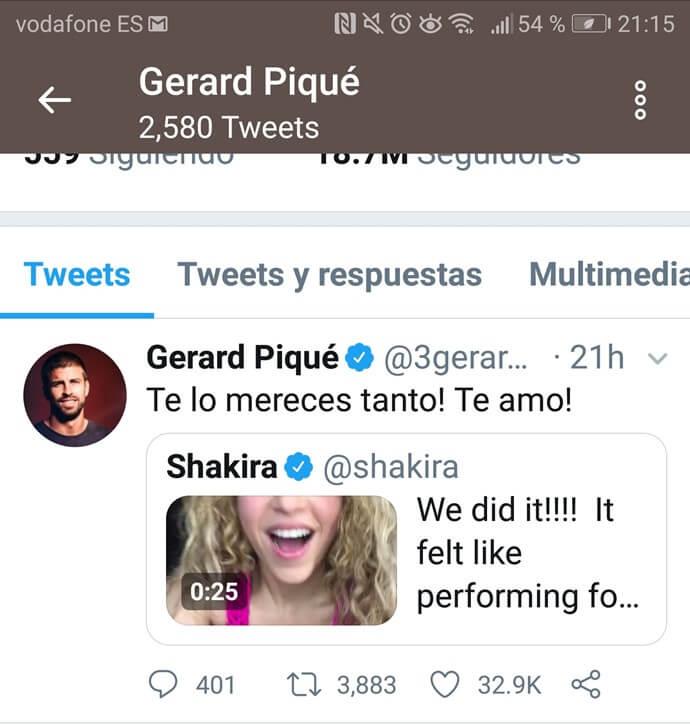 Tweet de Piqué a Shakira