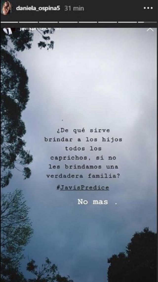 Mensaje de Daniela Ospina en Instagram