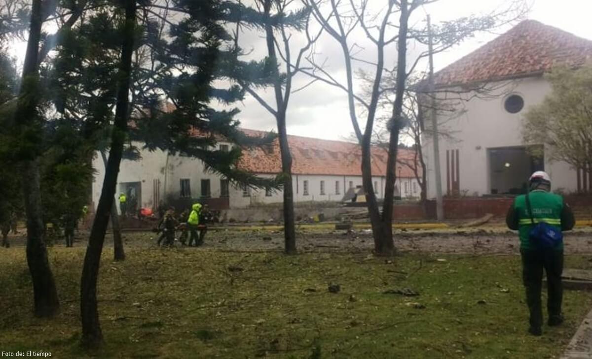 Foto del atentado en Escuela General Santander