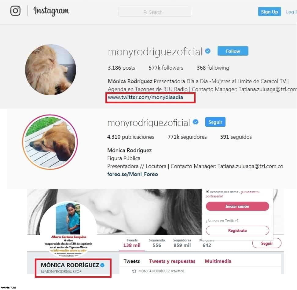 Pantallazo Instagram de Mónica