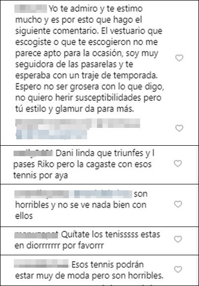 Críticas a los tenis de Daniela Ospina en Instagram