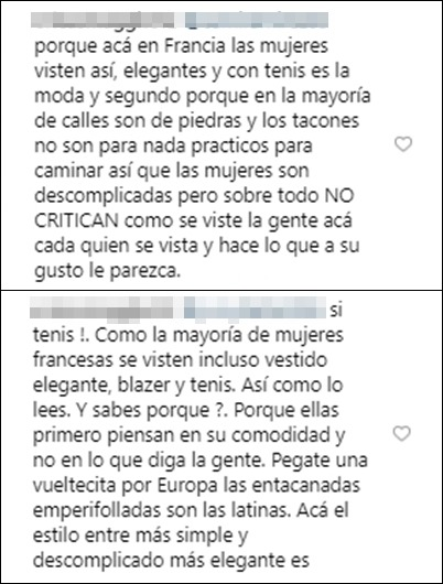 Comentarios defendiendo los tenis de Daniela Ospina