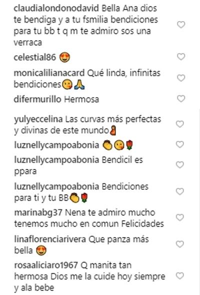 Print de comentarios favorables en el Instagram de Ana Victoria Beltrán
