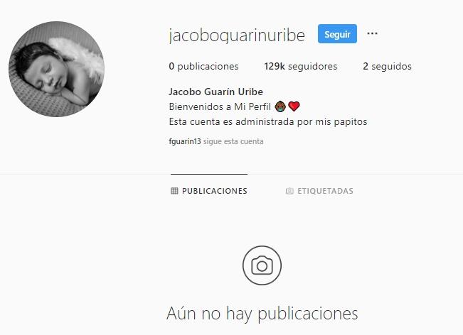 Print de pantalla de la cuenta del hijo de Sara Uribe